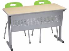 T-Leg training table with optional modesty panel and Omnia chairs.